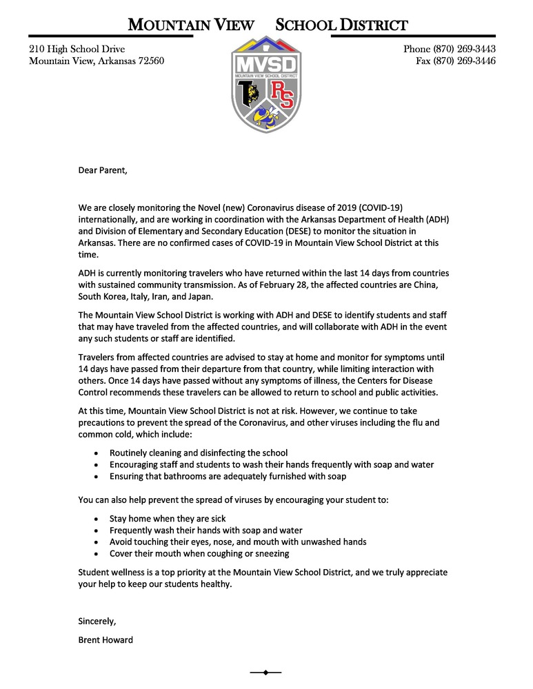 Mountain View School District Letter to Parents on COVID-19