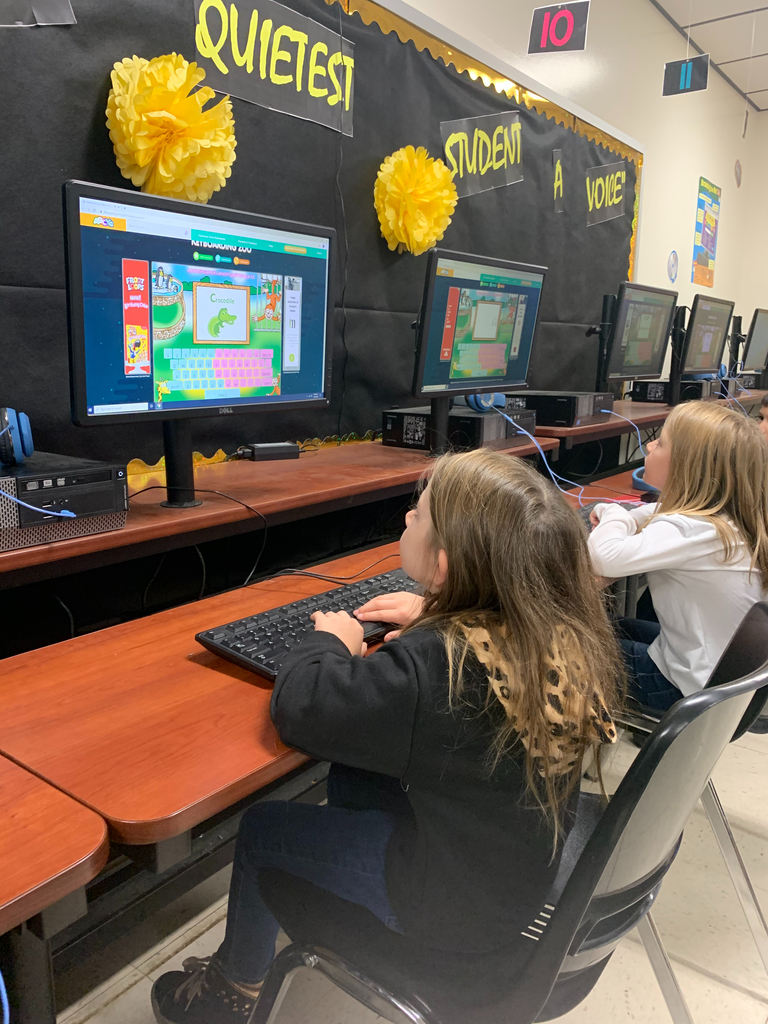Olivia & Lizzy working on their keyboarding skills!