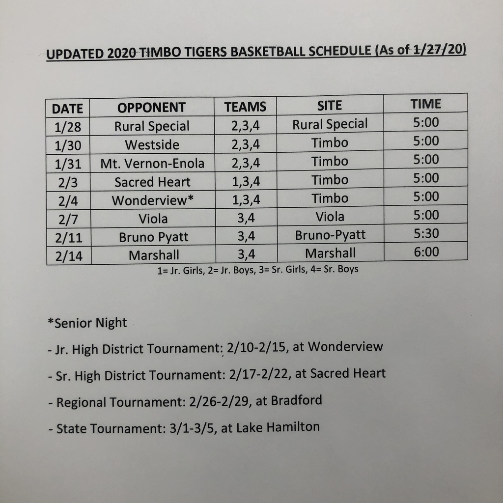 Timbo basketball schedule (updated)