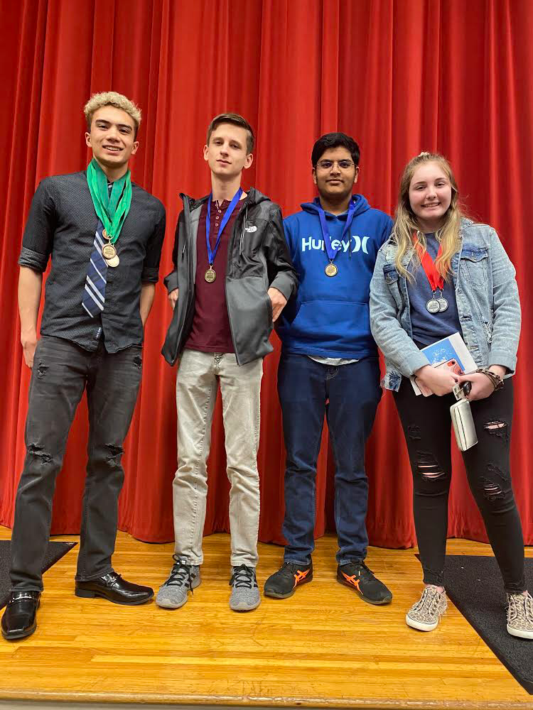 Aston N., Luke F., Nash A., and Hanna C.represent 3 groups who placed in state competitions.