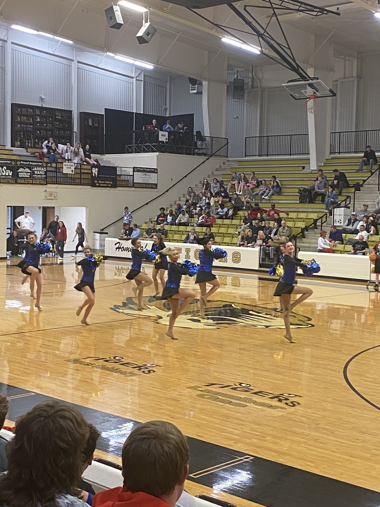 State Champion Dance Team performs at halftime of state tournament game.